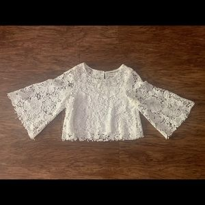 NWOT Sugar + Lips white lace crop top